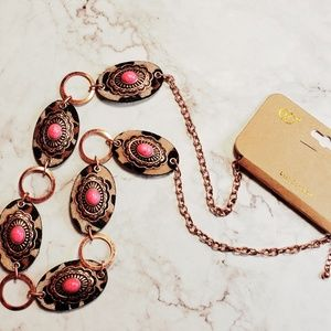 Jewelry - Pink howlite concho leopard mohair chain necklace